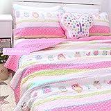 Brandream Cute Pink Owl Print Bedding Set Girls Kids Summer Comforter Set Full Size