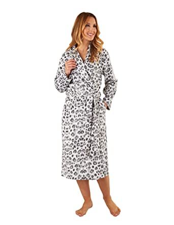 538d6c5569 Slenderella HC8312 Women s Grey Animal Print Robe Long Sleeve Dressing Gown  Small