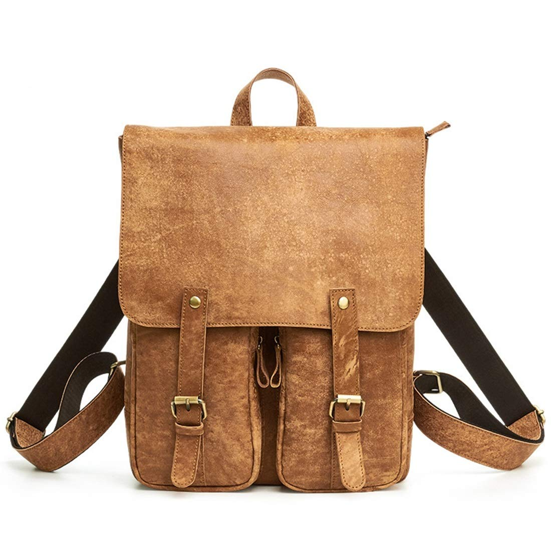 HOUYAZHAN Sac à Dos en Cuir véritable pour Hommes Vintage étanche Zipper Outdoor Travel Business (Color : Brown)