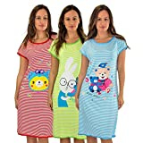 #5012 3 Pack: Short Sleeve Nightshirt/Sleep Shirt For Women Below The Knee Long Length Sleepwear RED SUNGLASS BEAR,GREEN BUNNY,BLUE TEDDY BEAR,Set 3 - XL