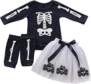 Agoky Baby Girls 3PCS My 1st Halloween Outfit Long Sleeves Romper with Tutu Skirt Leg Warmers Headband Set