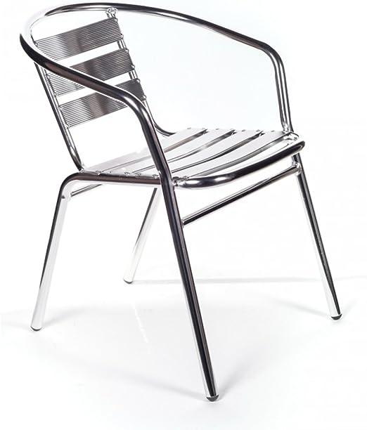 San Marco Smdc101x6 6 Sedie Alluminio Impilabili Per Bar Da Interno O Esterno Amazon It Giardino E Giardinaggio