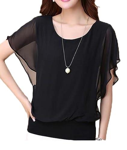 LemonGirl Women's Casual Short Sleeve Chiffon Top T-shirt Blouse