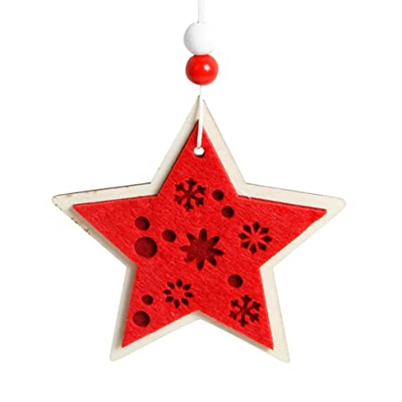 wanshop christmas decorations snowflake wood embellishments rustic christmas tree hanging ornament decor gifts craft embellishments - Rustic Christmas Decorations Uk