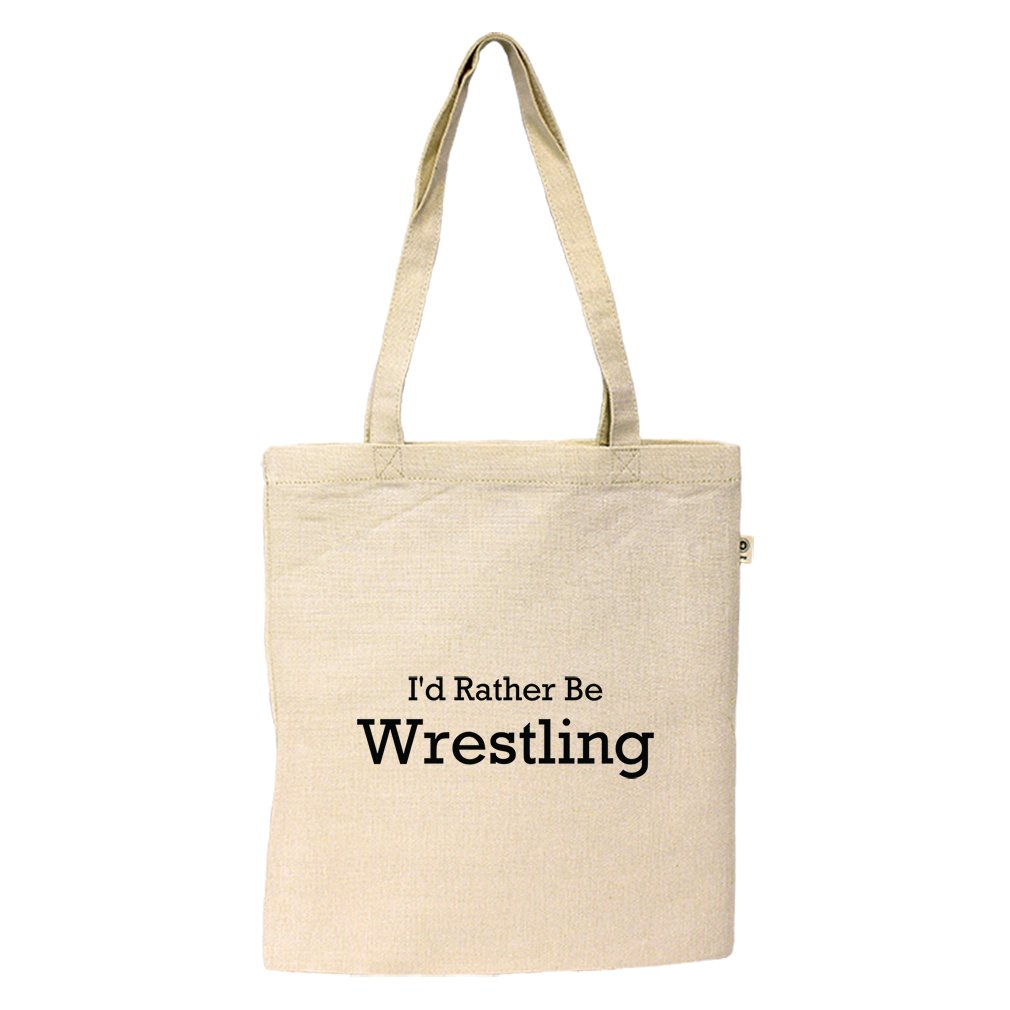 Hemp/Cotton Simple Market Tote Bag I'D Rather Be Wrestling Style In Print