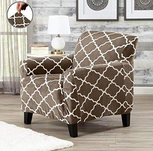Modern Velvet Plush Strapless Slipcover. Form Fit Stretch, Stylish Furniture Shield / Protector. Magnolia Collection Strapless Slipcover by Great Bay Home Brand. (Chair, Walnut (Living Room Walnut Sofa)