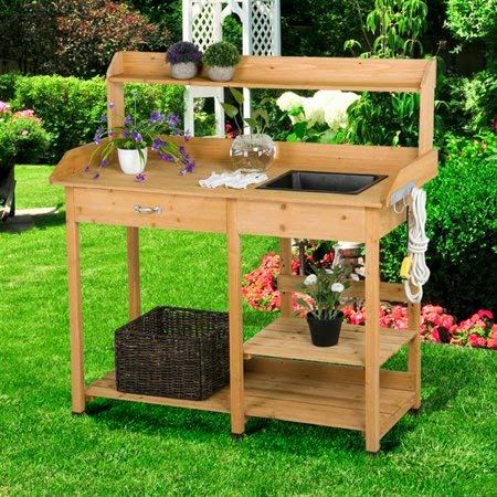 Tremendous Potting Table Potting Benches For Outside Natural Cedar Wood With Sink Drawer Rack Shelves If You Love To Garden And To Plant This Is The Perfect Creativecarmelina Interior Chair Design Creativecarmelinacom