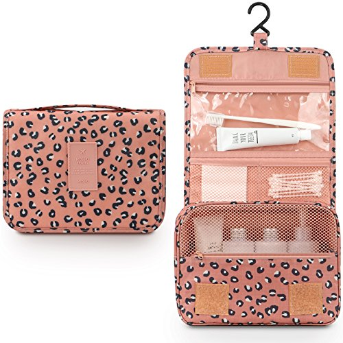 Pink Makeup Cases - Toiletry Bag for Women,Mossio Waterproof Big Makeup Case with Large Compartment Pink Leopard