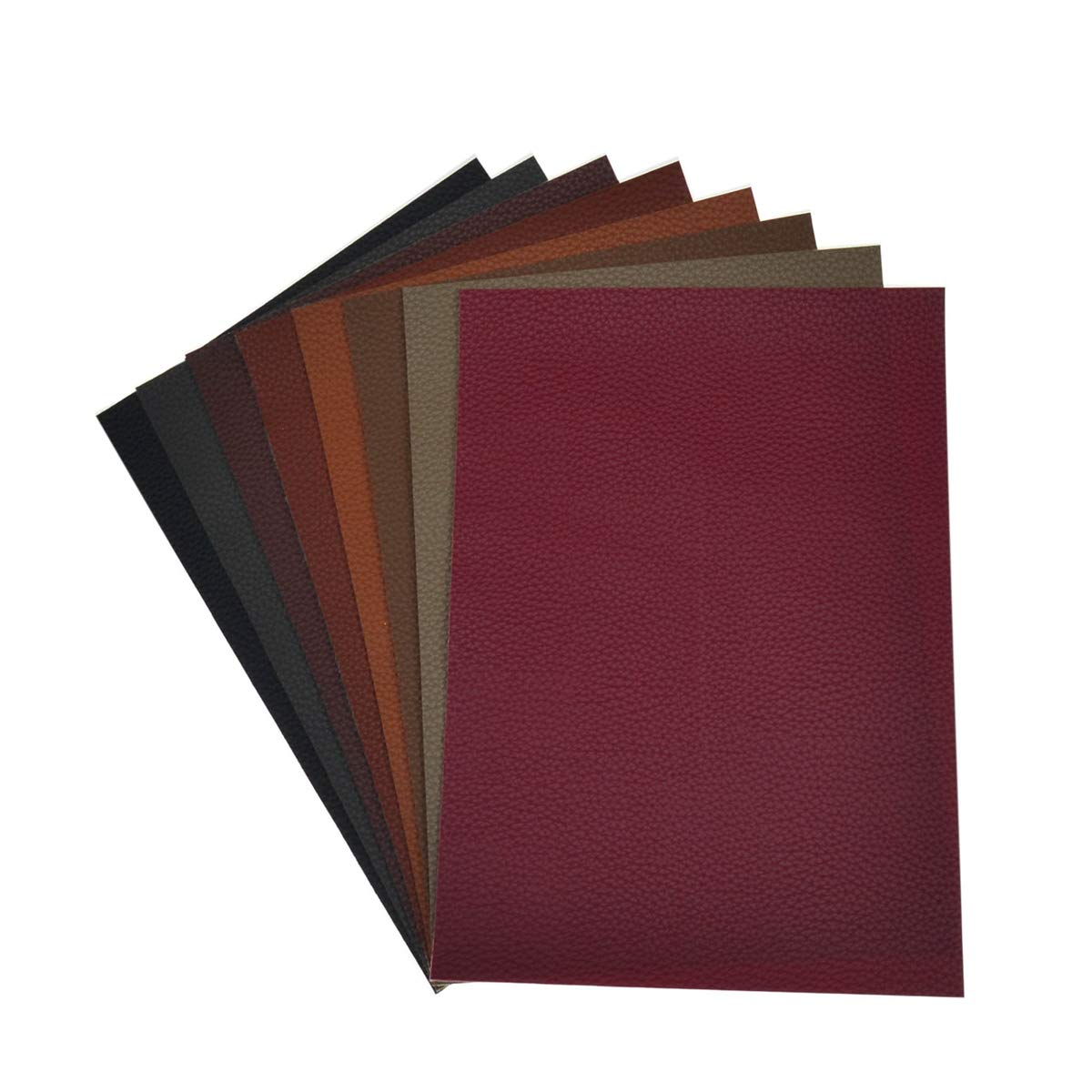 Faux Leather Sheets for Earrings and Bows-8 Pieces A4 Size 8 x 12 Inch(21 x 30 cm) Solid Color Litchi Grain Texture Faux Leather Fabric Sheets Cotton Back for Hair Bows, Headband, Wallet Making by Aomry (Image #2)