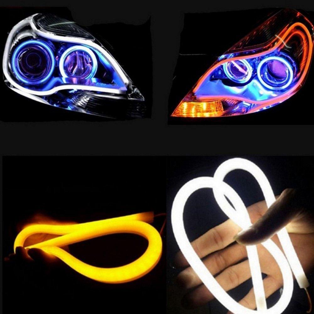 HopeU5 Einfarbige St/ück Auto Stil Schlauch 12V DC Wei/ß-Gelb Switchback Scheinwerfer LED Auto Streifen Licht DRL Tagfahrlicht 85cm Single color