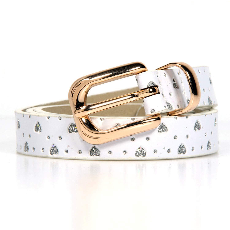 Fashion gift Metal Buckle Love brick printing children boys girls belt Brand PU Leather belts waistband,White,Waist Size 18-22inch