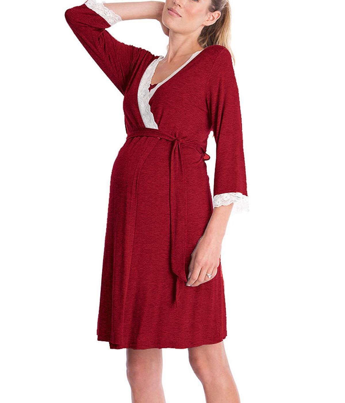 D C.Supernice Women Nightdress 3//4 Sleeve V-Neck Maternity Nursing Nightie Dress for Breastfeeding Nightgown Sleepwear