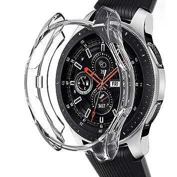 Kmasic Compatible Samsung Galaxy Watch 46mm Funda, TPU Funda Protectora Delgada Funda Protectora Integral para el Parachoques Protector de Shell para ...