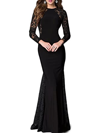 63a81e72a YSMei Women's Lace Evening Dress Long Sleeve Mermaid Prom Party Formal  Gowns Black 2