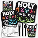 Holy Bleep You're 50 Years Old Funny Birthday Theme Party Supply Set - Serves 8 Guests