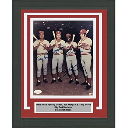 11b609dba65 Framed Autographed/Signed Big Red Machine Pete Rose Johnny Bench Joe ...