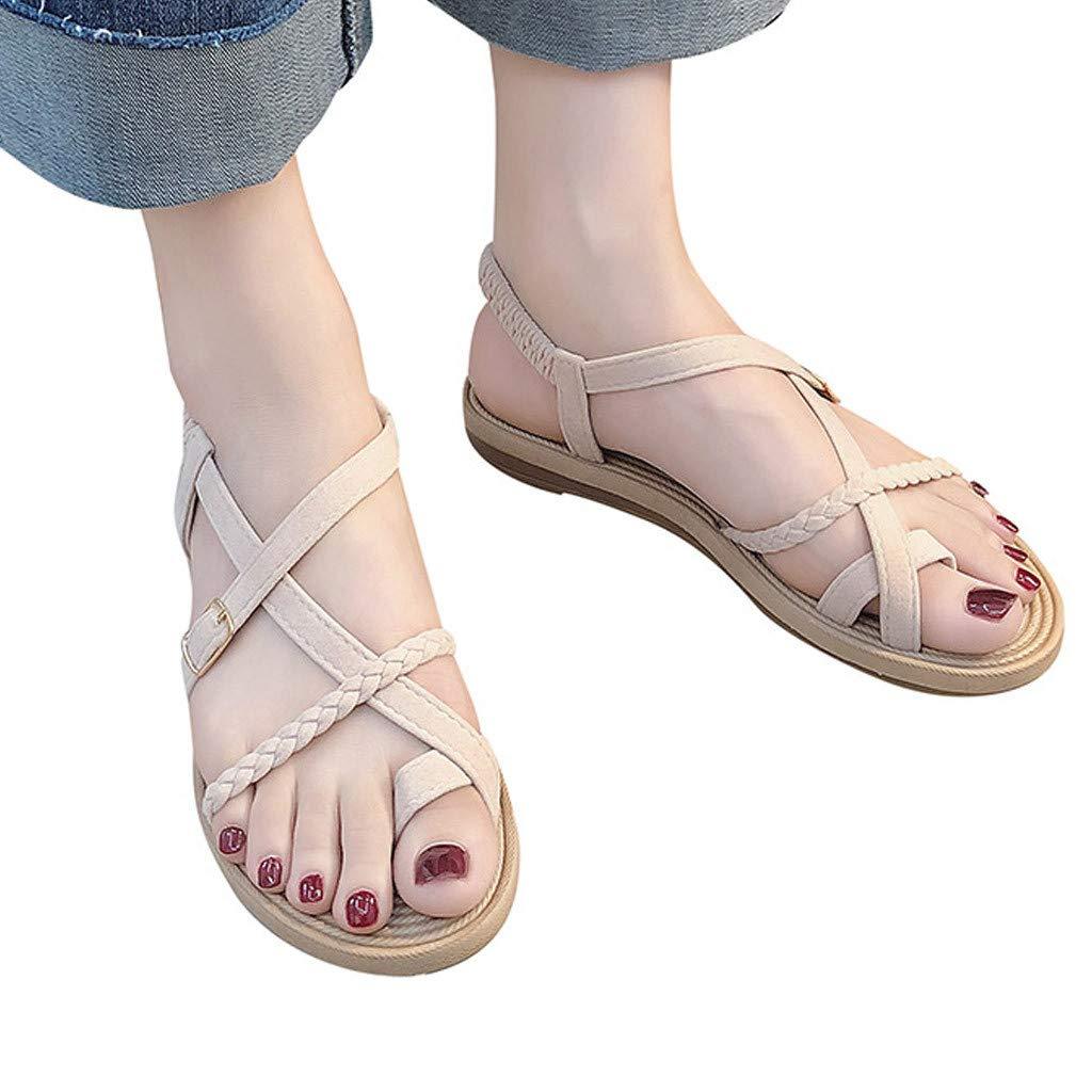 Duseedik Summer Women's Flat Sandals Bottom Roman Toe Cross Criss Wild Cross Straps Clip Toe Beach Shoes Beige