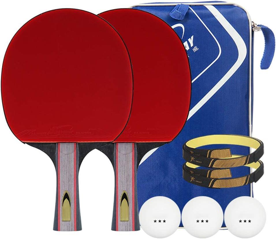 DGYAXIN Palas Ping Pong, Table Tennis Set Raquetas de Ping Pong Madera de 5 Capas Caucho de Doble Cara con 2 Murciélagos y 3 Bolas Película Protectora de Panel de Mango Largo Protección de Borde