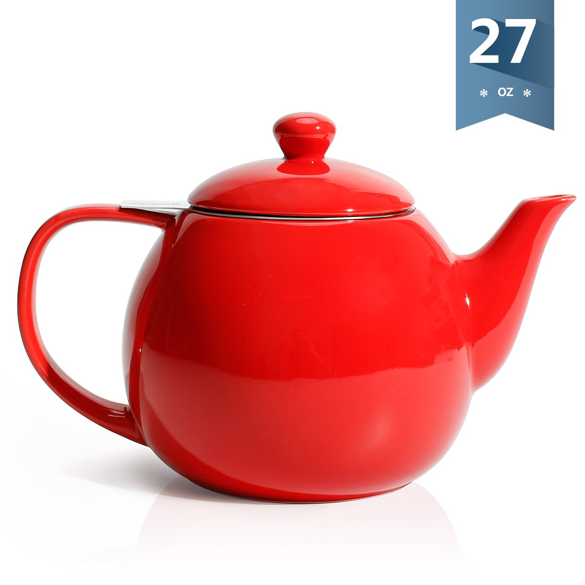 Sweese 2309 Teapot, Porcelain Tea Pot with Stainless Steel Infuser, Blooming & Loose Leaf Teapot - 27 ounce, Red