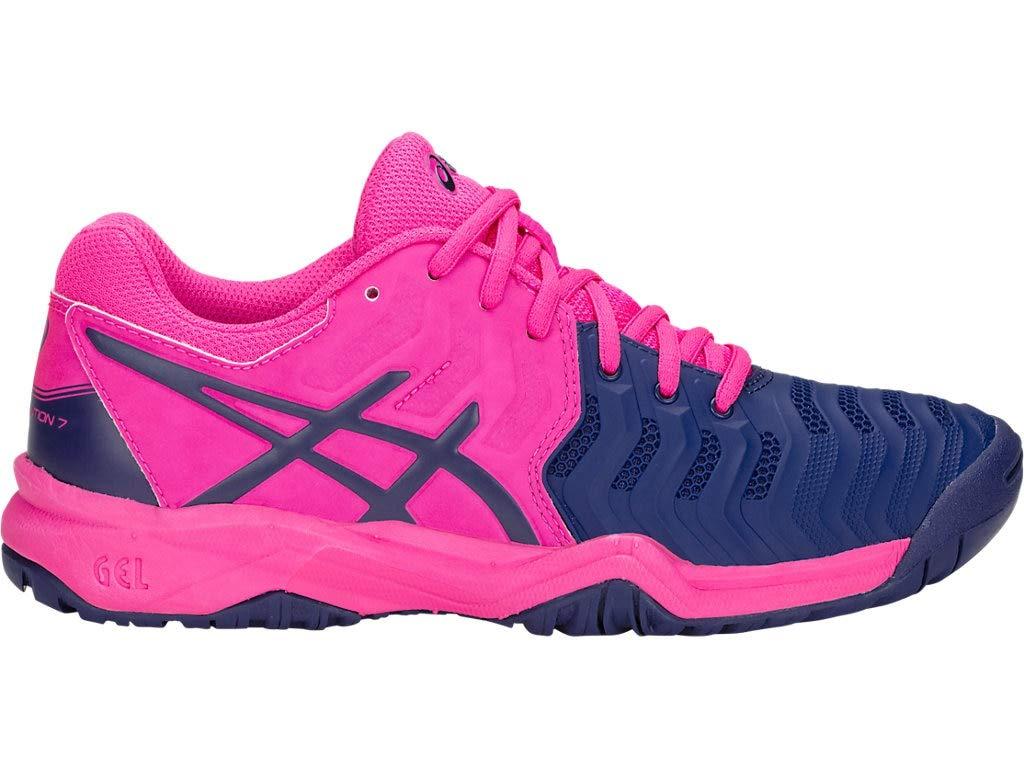 ASICS Kid's Gel-Resolution 7 GS Tennis Shoes, 2M, Pink GLO/Blue Print