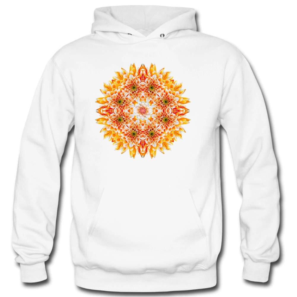 Mens Orange Flower Mandala Long Sleeve Hooded Sweatshirt white