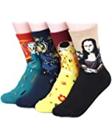 Womens Art Patterned Casual Crew Socks - Famous Painting Collection. Good for Gift Idea