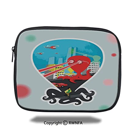 ace18e041bea Fashion Protection Bag,Monster Octopus with Giant Tentacles Attack City  Retro Style Cartoon Art Illustration