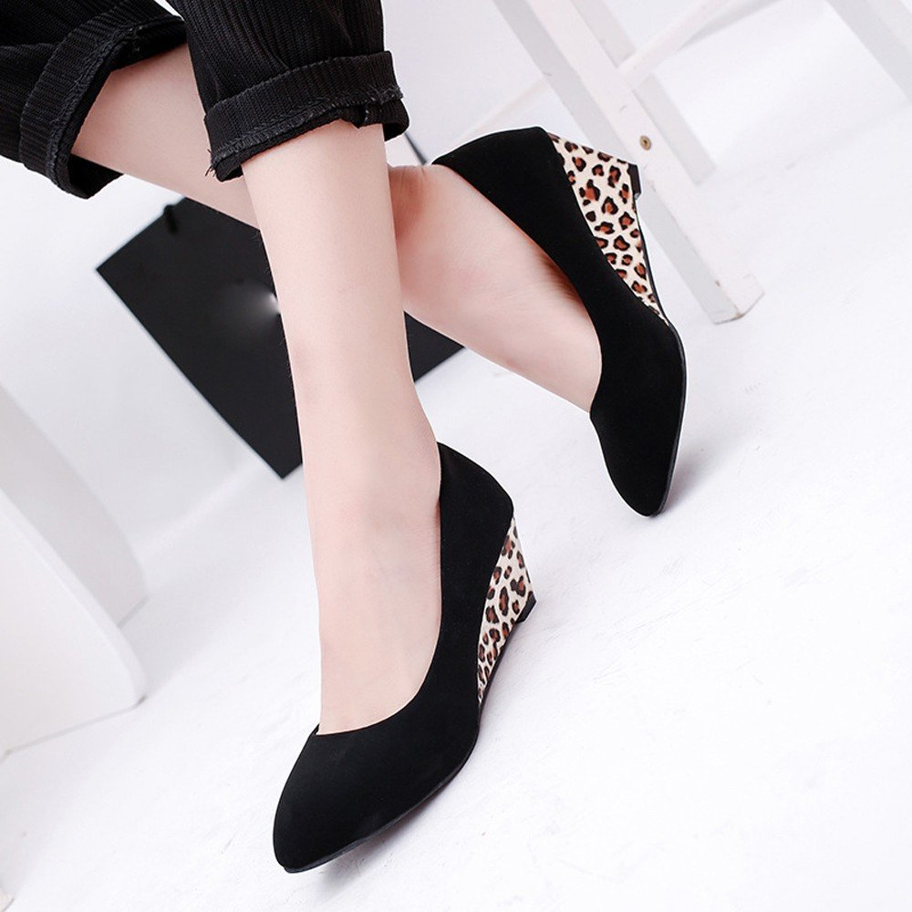 Clearance Sale Shose For Women,Farjing Fashion Women Round Toe Platform High Heel Sandals Slip-on Slope Career High Heels(US:6,Black)