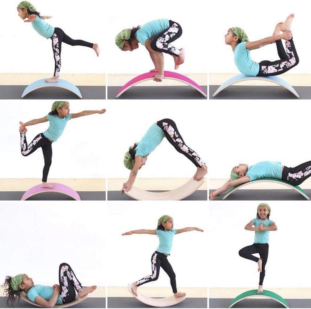 Wobble Und Rocker Board Blance Traning Kinder Curved Balance Board Kid Yoga Vorstand Slide L@CR Holz Balance Board