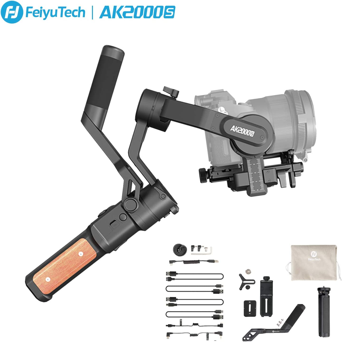 FeiyuTech AK2000s Handheld Gimbal Camera Stabilizer with Versatile Handle LCD Screen for DSLR Camera Sony a6300 a6400 a6500 Canon M50 EOS R Panasonic DC-GF9XGK DMC-LX100 Nikon Fujifilm