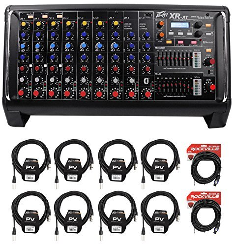 Peavey XR AT 1000W Powered/Active 9 Ch. Mixer w/ Bluetooth+AutoTune XRAT+Cables by Peavey