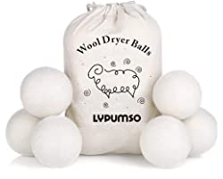 Wool Dryer Balls, Made from Premium Reusable New Zealand wool, Fabric softener, Reduce Wrinkles & Static Electricity, Shorten