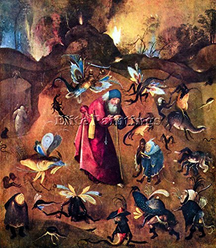 TEMPTATION OF ST ANTHONY BY BOSCH ARTIST PAINTING OIL CANVAS REPRO WALL ART DECO 48x40inch