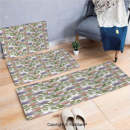 (FashSam 3 Piece Flannel Bath Carpet Non Slip Pastel Tone Tulip Flower Aged Ottoman National Symbol Petals Image Front Door Mats Rugs for Home(W15.7xL23.6 by W19.6xL31.5 by W17.7xL53))