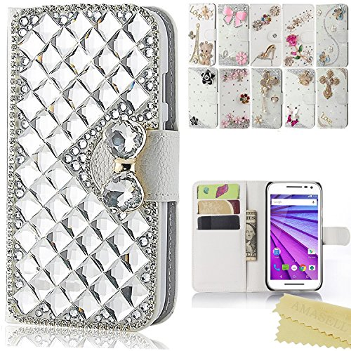 Samsung Galaxy Mega 2 Case, AMASELL Glitter Bling Diamonds PU Leather Wallet Flip Open Pocket ID Credit Card Holders/Cash Slots Cover for Samsung SM-G750F/SM-G7508Q, silver big crystal bowknot (Case Galaxy 2 Samsung Mega)