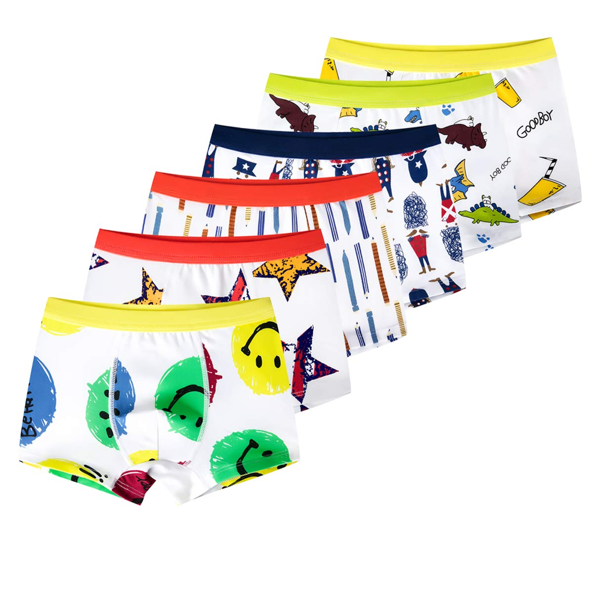 ALALIMINI Toddler Boys' Cotton Underwear 6-Pack Little Kids Boxer Brief Airy Shorts 3T 4T 5T 6T