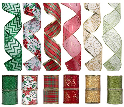 iPEGTOP Wired Christmas Ribbon, Assorted Shimmer Organza Glitter Gift Wrapping Ribbons Handcraft Decorations, 36 Yards (12 Roll x 3 yd) by 2.5 inch, Floral Poinsettia Plaid (Ribbons Christmas)