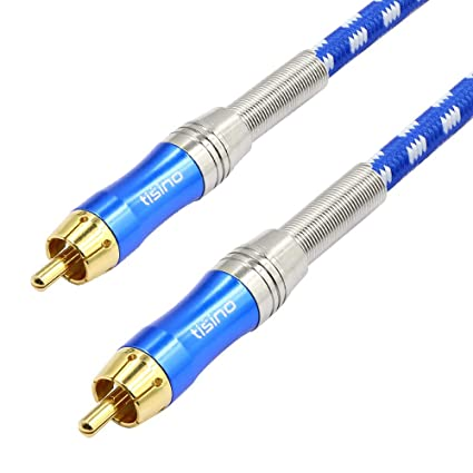 TISINO RCA Subwoofer Cable, Digital Coaxial Audio Cable Stereo Audio Cable, High Fidelity Signal