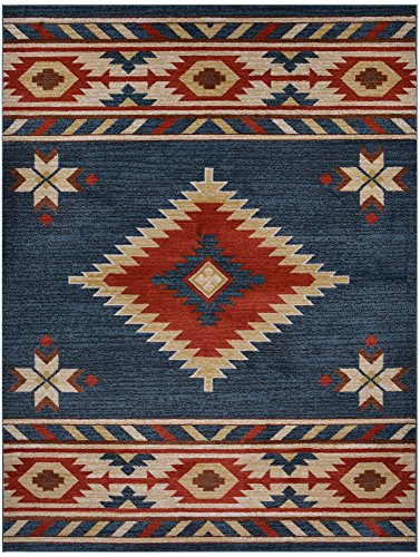 (Nevita Collection Southwestern Native American Design Area Rug Rugs Geometric (Blue, 8 x 10))