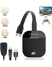 DOSNTO 4K Wireless Display Dongle, 2.4G / 5G WiFi HDMI Dongle, Adattatore Display Portatile Proiettore TV, Ricevitore TV Connettore HDMI per Android/iOS/Windows/Miracast/Airplay DNLA/Mac, ECC