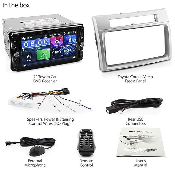 Tunez Kit de Radio para Reproductor de MP3 para Toyota Corolla Verso de 3/ª generaci/ón de Modelos 2004 2005 2006 2007 2008 Doble DIN, est/éreo Europeo de Reino Unido