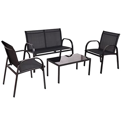 Amazon.com : NEW Black 4 PCS Patio Furniture Set Sofa Coffee Table ...