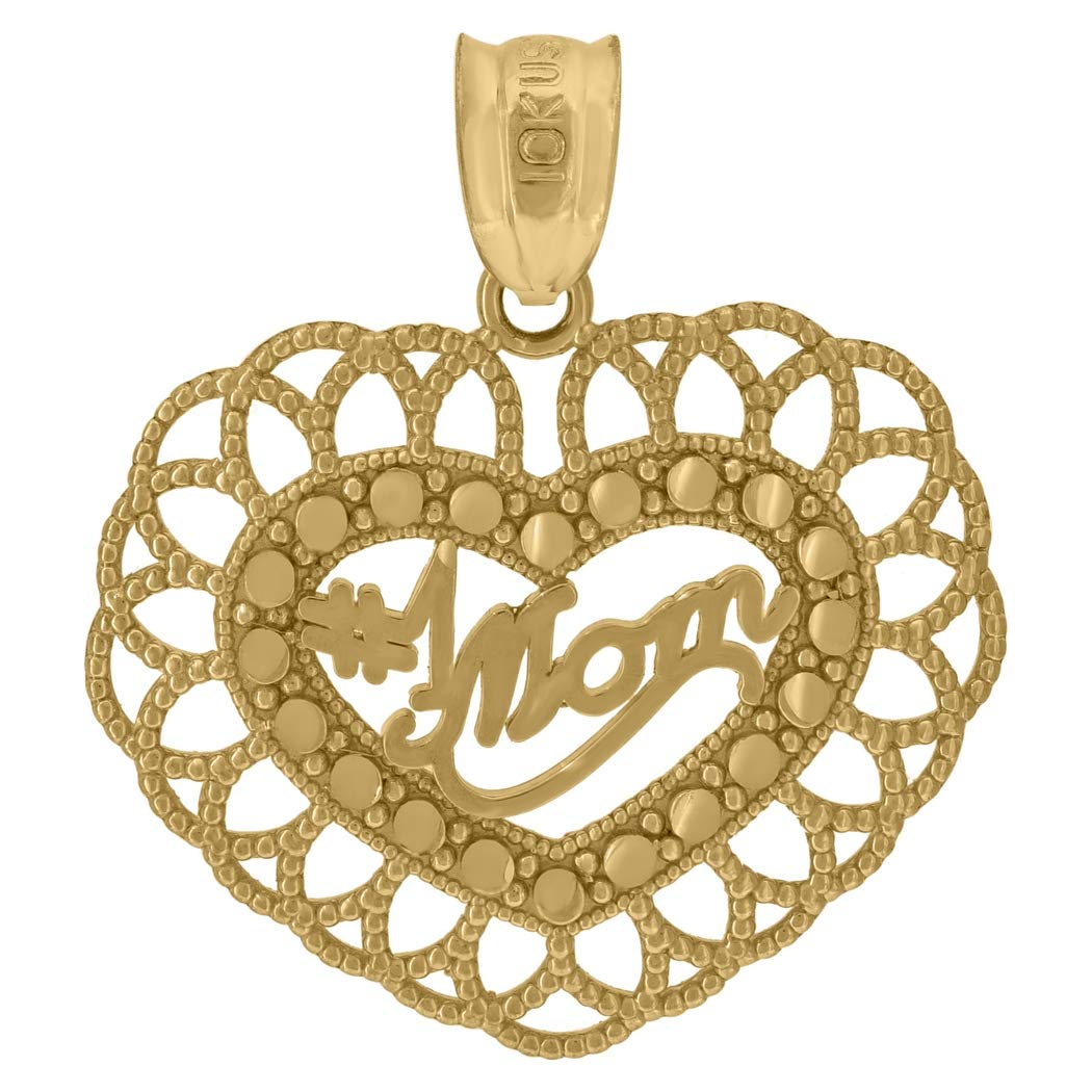 Measures 23.7x20.70mm Wide 10k Yellow Gold Womens #1 Mom Heart Charm Pendant
