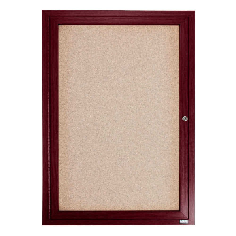 TableTop King CBC2418R 24'' x 18'' Enclosed Indoor Hinged Locking 1 Door Bulletin Board with Cherry Frame
