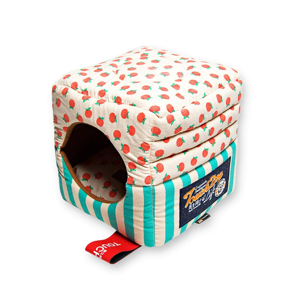 Green MediumCat Litter Dog House Sofa Pet Nest, Removable And Washable Design Teddy Bears Are Available, Green Pink JSSFQK (color   Pink, Size   M)