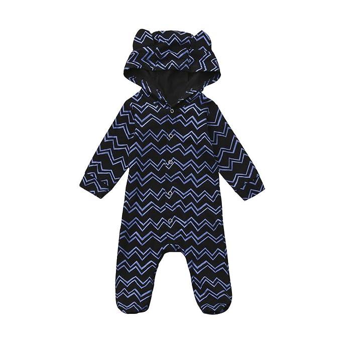 Ropa Bebe Niño Otoño Invierno ,SMARTLADY Recién nacido Niño Peleles con capucha de manga larga