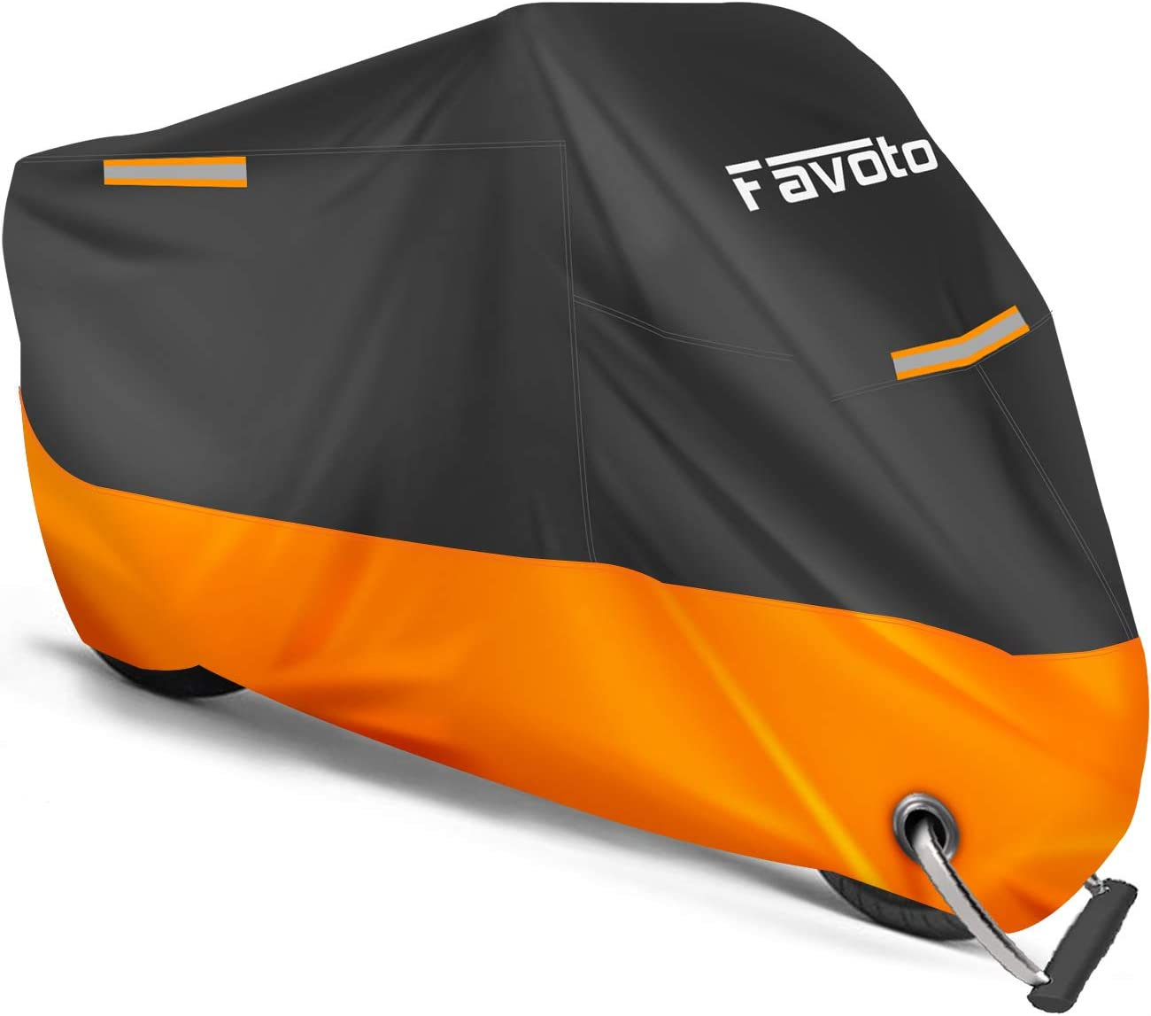XXL,Black QSTT Waterproof Sun Motorcycle Cover Harley and More Suzuki All Season Outdoor Protection,Fits up to 104 Motors for Honda Yamaha