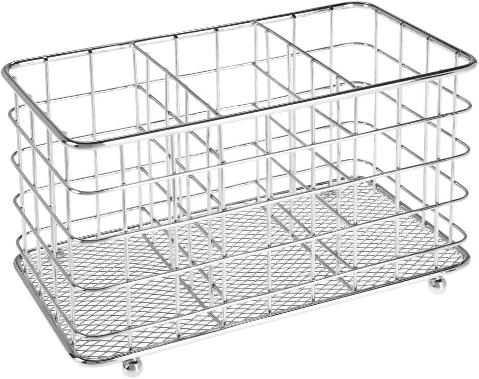 Organizador de Cubiertos con 3 Compartimentos Plateado Separador de Cubiertos y Organizador de Cocina tambi/én Apto para estropajos y bayetas mDesign Cesta para Cubiertos de Metal