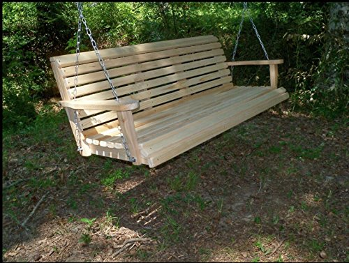 - 5 Five Feet Ft Made in the USA Rot Resistant Cypress Lumber Roll Back Porch Swing with Swing-mateTM Comfort Springs