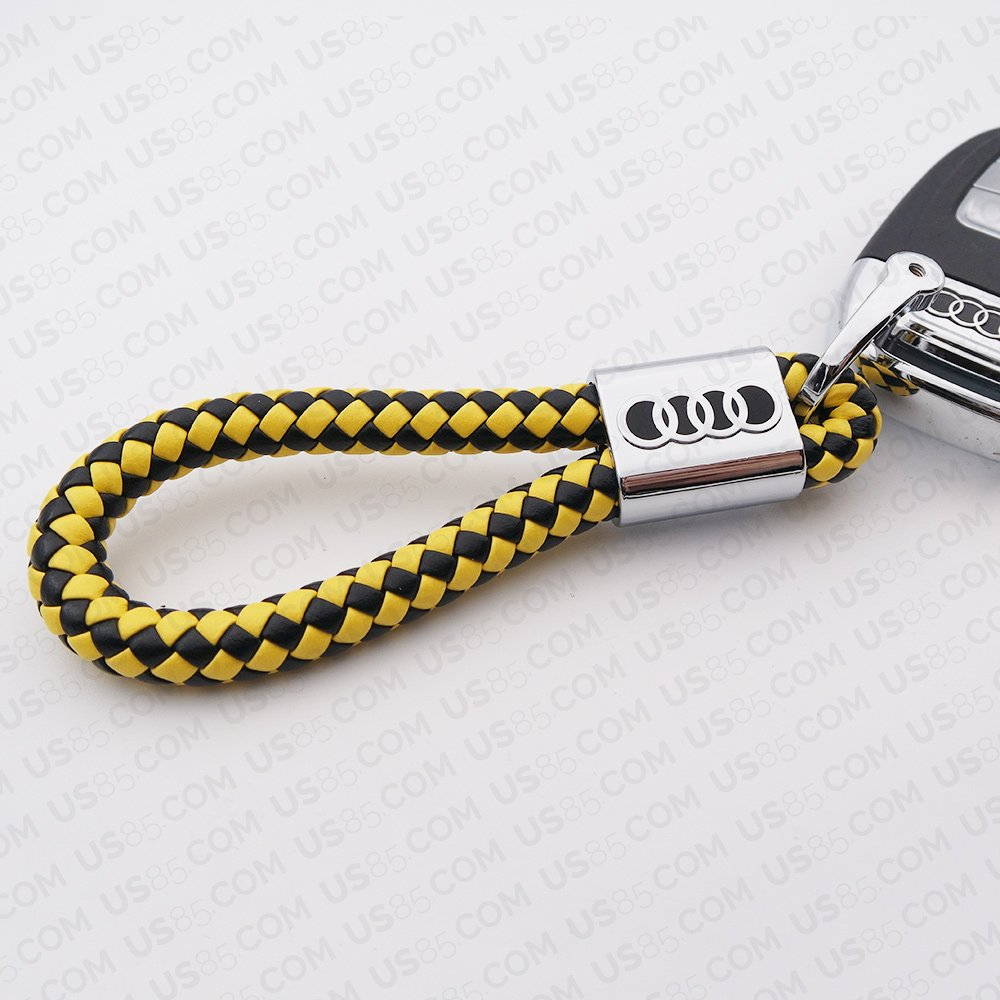 For Audi Logo Emblem Key Chain Key Ring Metal Alloy BV Style Calf Leather Gift Decoration Accessories Black /& Yellow